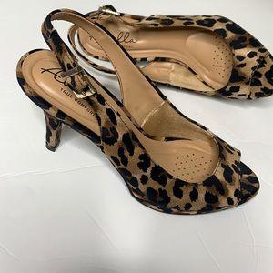 NWOT leopard print open toe slingback Pumps sz 7.5